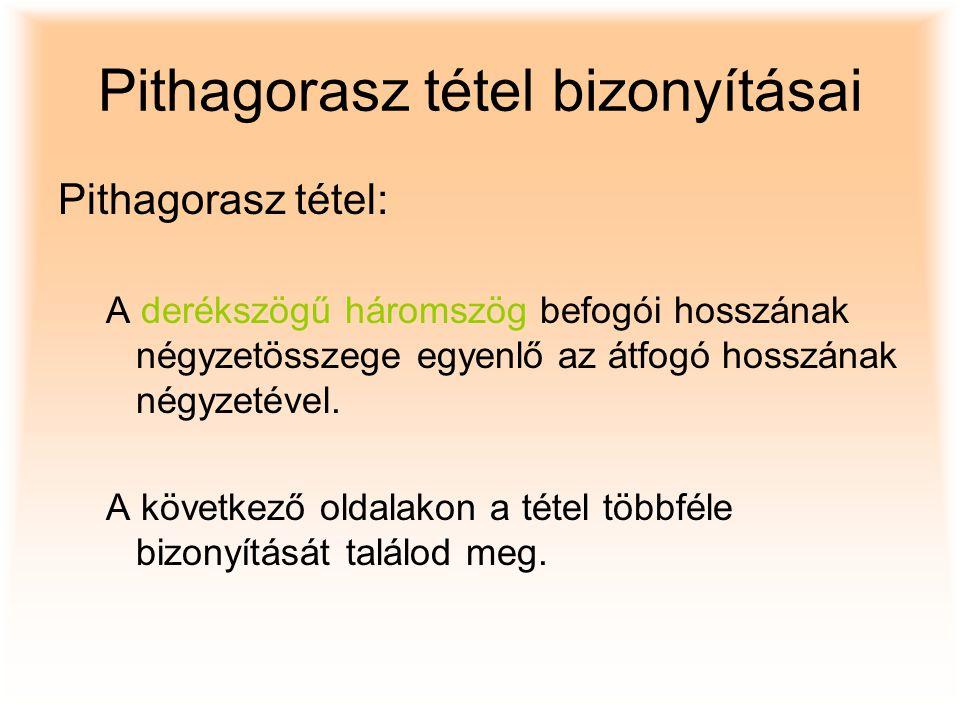 Pithagorasz tétel bizonyításai Pithagorasz tétel: A derékszögű háromszög befogói hosszának négyzetösszege egyenlő az átfogó hosszának négyzetével. A k