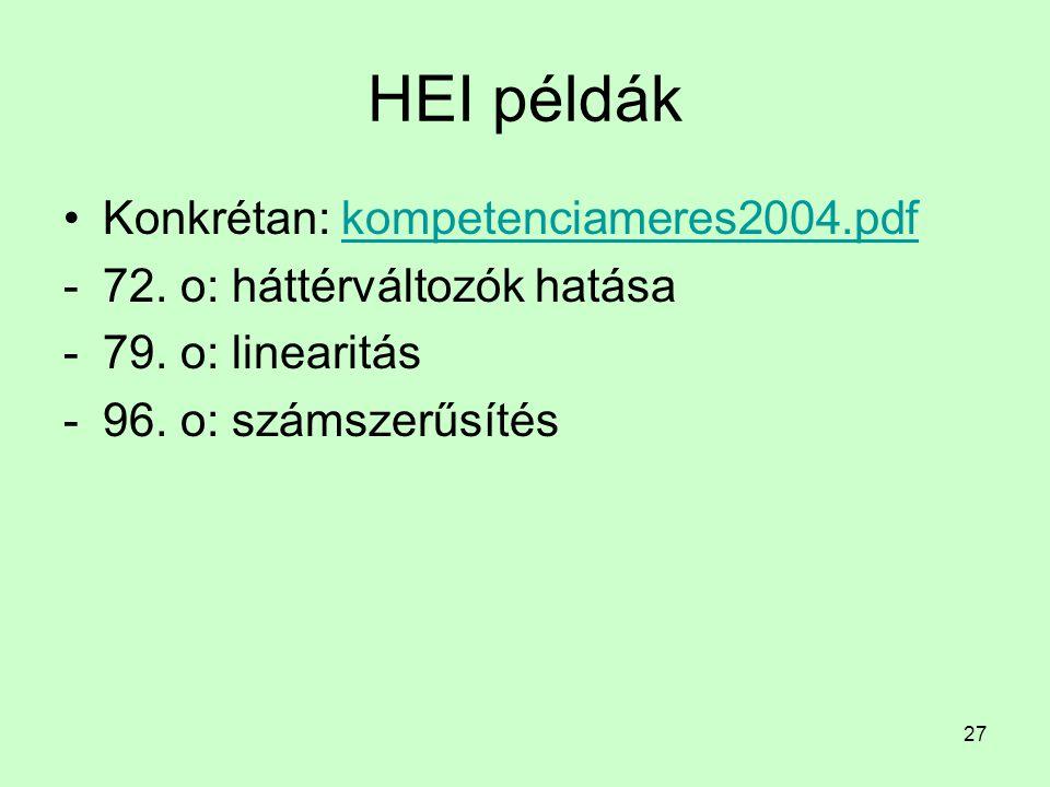 27 HEI példák Konkrétan: kompetenciameres2004.pdfkompetenciameres2004.pdf -72. o: háttérváltozók hatása -79. o: linearitás -96. o: számszerűsítés