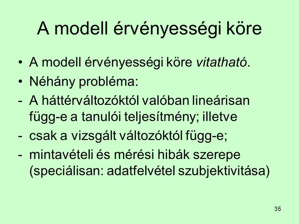35 A modell érvényességi köre A modell érvényességi köre vitatható. Néhány probléma: -A háttérváltozóktól valóban lineárisan függ-e a tanulói teljesít