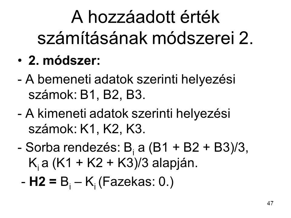 47 A hozzáadott érték számításának módszerei 2. 2. módszer: - A bemeneti adatok szerinti helyezési számok: B1, B2, B3. - A kimeneti adatok szerinti he