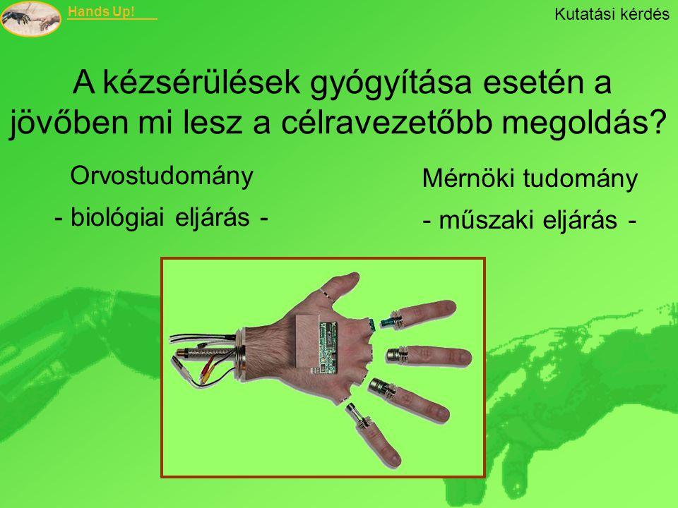 Hands Up! Kutatási kérdés A kézsérülések gyógyítása esetén a jövőben mi lesz a célravezetőbb megoldás? Orvostudomány - biológiai eljárás - Mérnöki tud