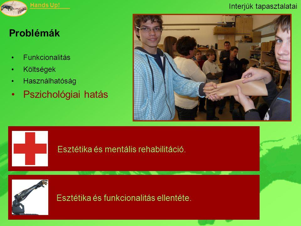 Hands Up! Funkcionalitás Költségek Használhatóság Pszichológiai hatás Esztétika és mentális rehabilitáció. Esztétika és funkcionalitás ellentéte. Prob