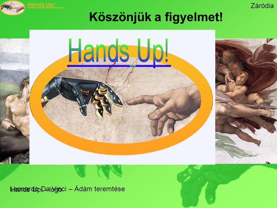 Hands Up! Záródia Köszönjük a figyelmet! Leonardo Da Vinci – Ádám teremtése Hands Up! - logo