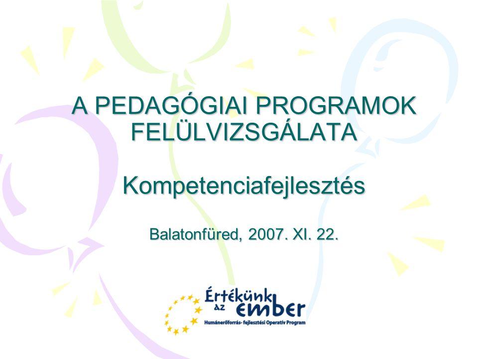 Kompetencia alapú oktatás A kompetencia alapú oktatás alapdokumentuma a kompetenciafejlesztő pedagógiai program, amely biztosítja az adott kompetenciaterületet meghatározó készségek és képességek, valamint a tartalomtól független kulcskompetenciák fejlesztését.