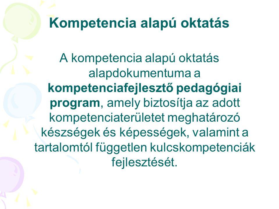 Kompetencia alapú oktatás A kompetencia alapú oktatás alapdokumentuma a kompetenciafejlesztő pedagógiai program, amely biztosítja az adott kompetencia