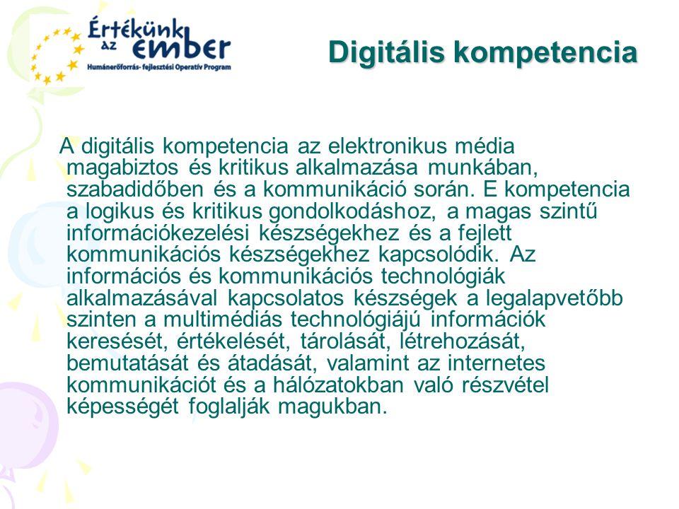 Digitális kompetencia A digitális kompetencia az elektronikus média magabiztos és kritikus alkalmazása munkában, szabadidőben és a kommunikáció során.
