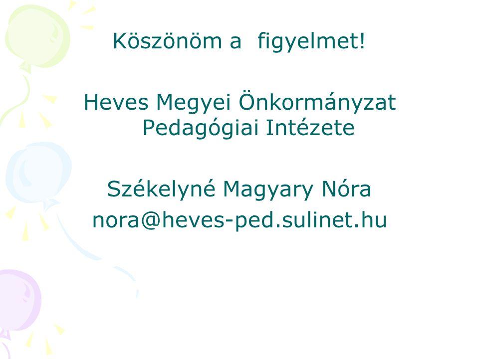 Köszönöm a figyelmet! Heves Megyei Önkormányzat Pedagógiai Intézete Székelyné Magyary Nóra nora@heves-ped.sulinet.hu