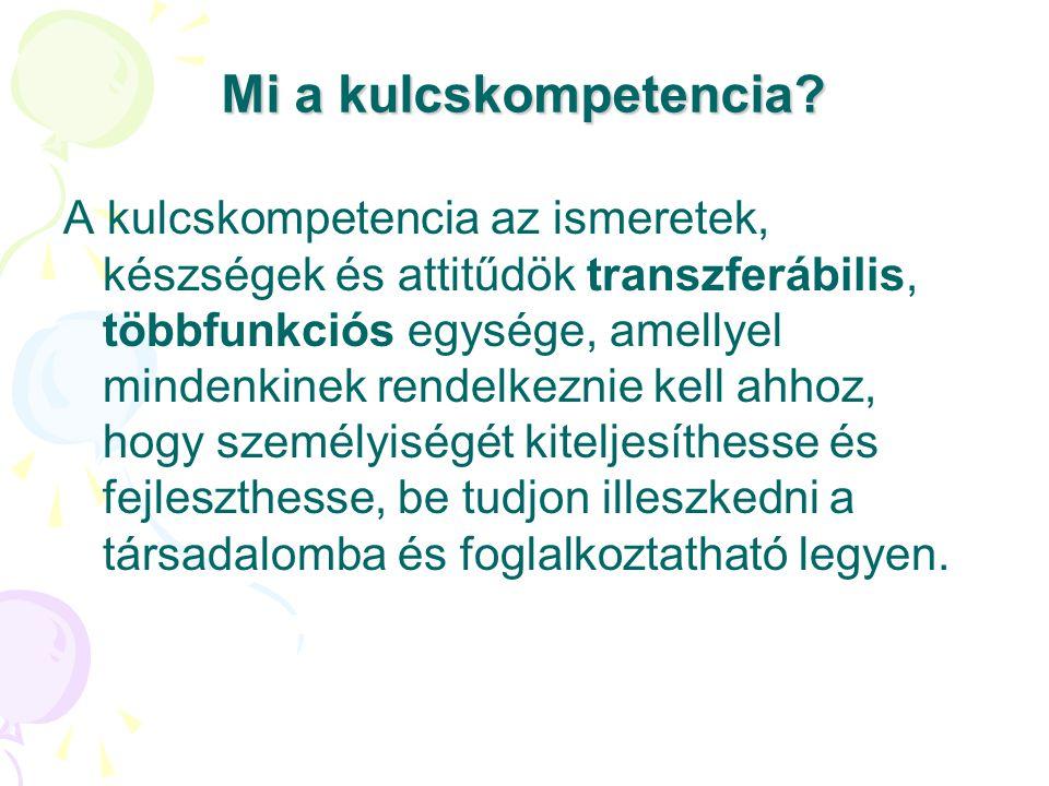 Mi a kulcskompetencia? A kulcskompetencia az ismeretek, készségek és attitűdök transzferábilis, többfunkciós egysége, amellyel mindenkinek rendelkezni