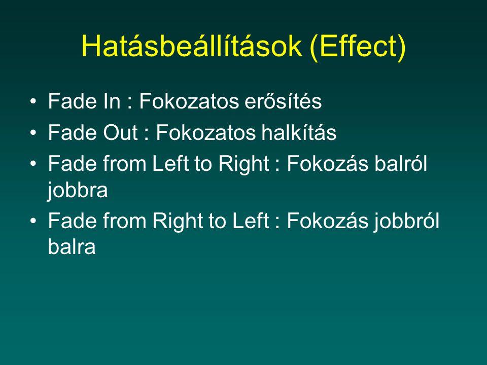 Hatásbeállítások (Effect) Fade In : Fokozatos erősítés Fade Out : Fokozatos halkítás Fade from Left to Right : Fokozás balról jobbra Fade from Right to Left : Fokozás jobbról balra