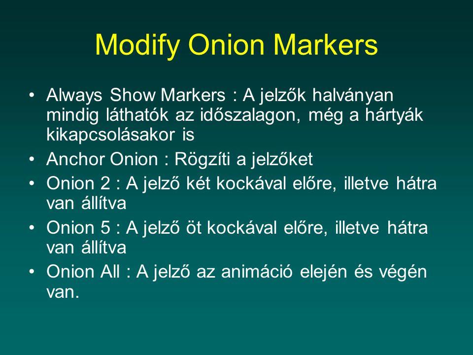 Always Show Markers : A jelzők halványan mindig láthatók az időszalagon, még a hártyák kikapcsolásakor is Anchor Onion : Rögzíti a jelzőket Onion 2 : A jelző két kockával előre, illetve hátra van állítva Onion 5 : A jelző öt kockával előre, illetve hátra van állítva Onion All : A jelző az animáció elején és végén van.