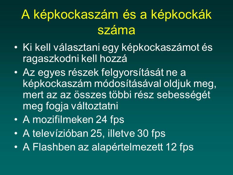 A képkockaszám és a képkockák száma Ki kell választani egy képkockaszámot és ragaszkodni kell hozzá Az egyes részek felgyorsítását ne a képkockaszám módosításával oldjuk meg, mert az az összes többi rész sebességét meg fogja változtatni A mozifilmeken 24 fps A televízióban 25, illetve 30 fps A Flashben az alapértelmezett 12 fps