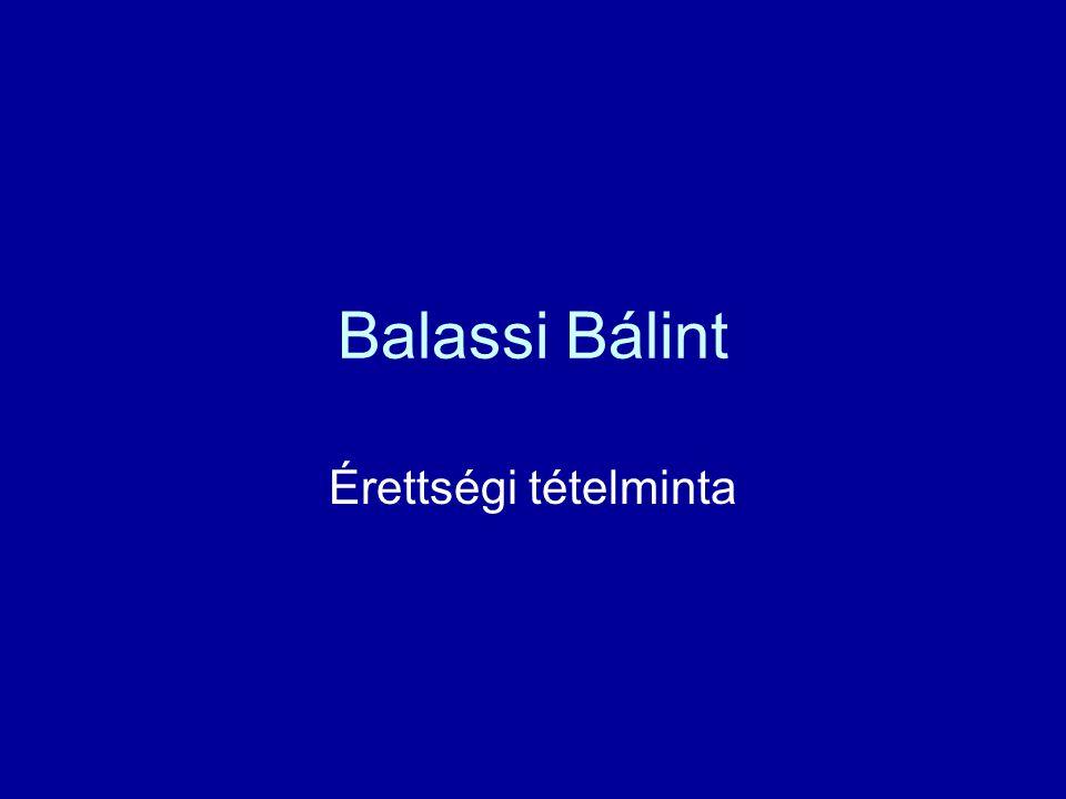 Balassi Bálint Érettségi tételminta