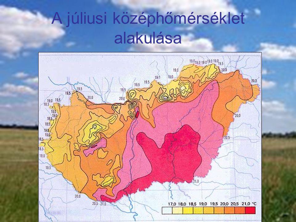 A júliusi középhőmérséklet alakulása