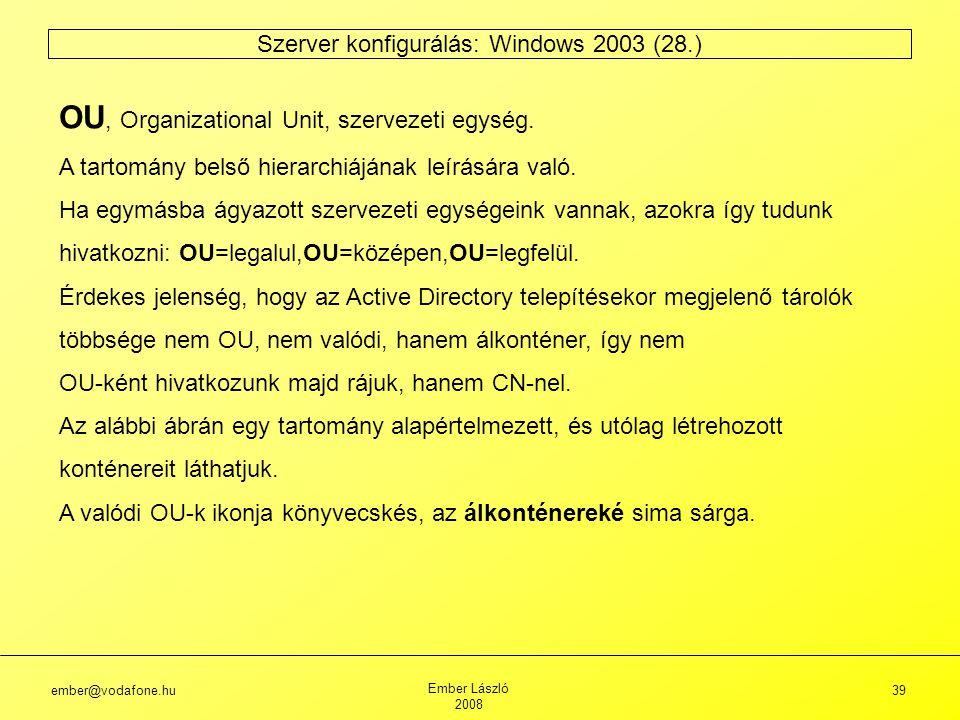 ember@vodafone.hu Ember László 2008 39 Szerver konfigurálás: Windows 2003 (28.) OU, Organizational Unit, szervezeti egység.