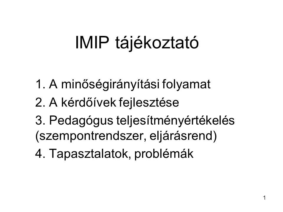 1 IMIP tájékoztató 1. A minőségirányítási folyamat 2. A kérdőívek fejlesztése 3. Pedagógus teljesítményértékelés (szempontrendszer, eljárásrend) 4. Ta