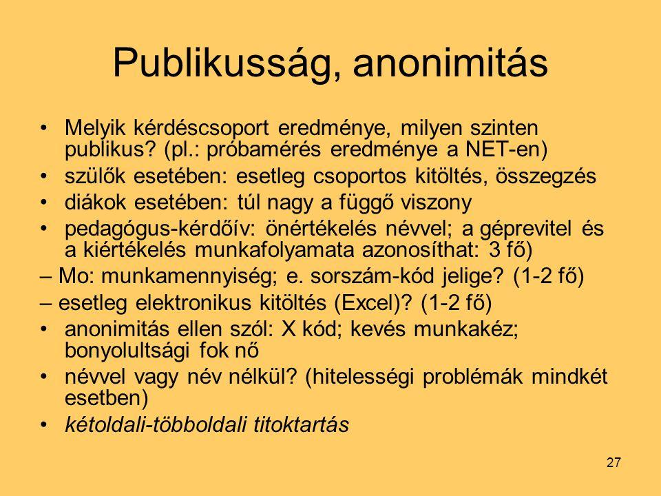 27 Publikusság, anonimitás Melyik kérdéscsoport eredménye, milyen szinten publikus? (pl.: próbamérés eredménye a NET-en) szülők esetében: esetleg csop
