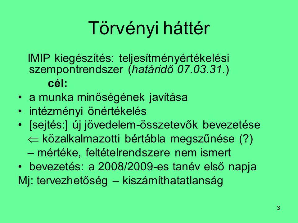 3 Törvényi háttér IMIP kiegészítés: teljesítményértékelési szempontrendszer (határidő 07.03.31.) cél: a munka minőségének javítása intézményi önértéke