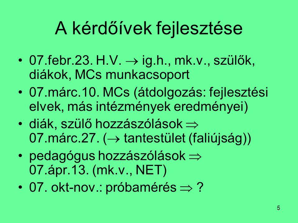 5 A kérdőívek fejlesztése 07.febr.23. H.V.  ig.h., mk.v., szülők, diákok, MCs munkacsoport 07.márc.10. MCs (átdolgozás: fejlesztési elvek, más intézm