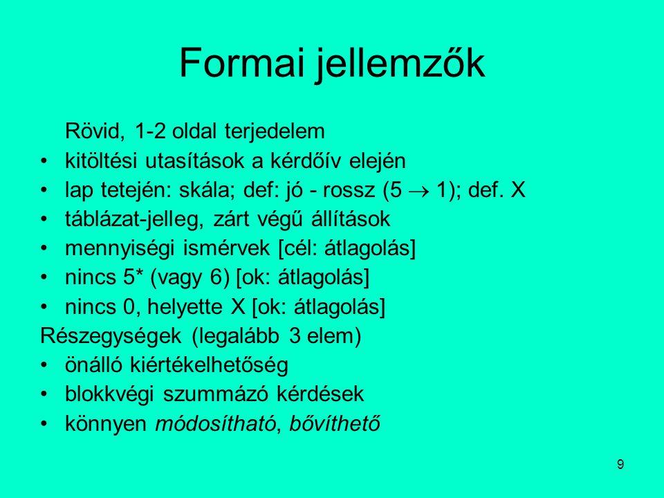 9 Formai jellemzők Rövid, 1-2 oldal terjedelem kitöltési utasítások a kérdőív elején lap tetején: skála; def: jó - rossz (5  1); def.