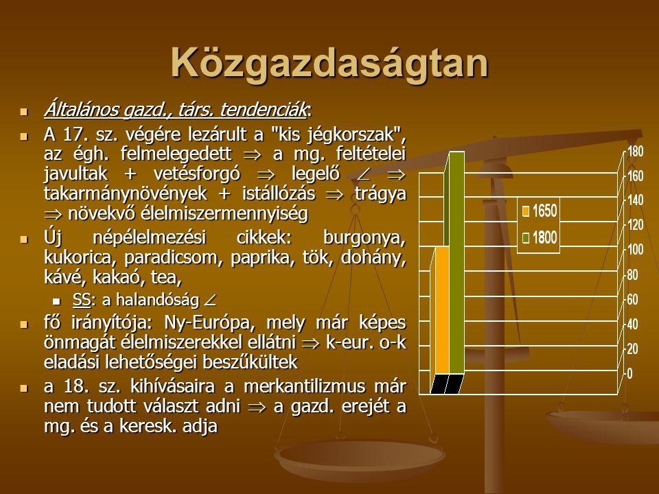 Közgazdaságtan Általános gazd., társ. tendenciák: Általános gazd., társ. tendenciák: A 17. sz. végére lezárult a