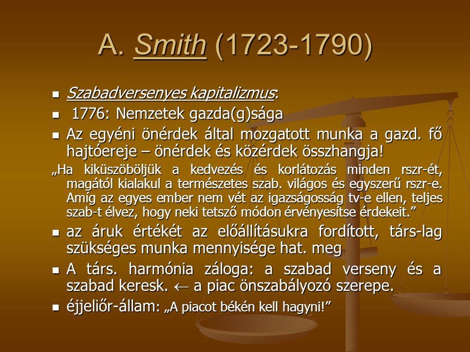 A. Smith (1723-1790) Szabadversenyes kapitalizmus: Szabadversenyes kapitalizmus: 1776: Nemzetek gazda(g)sága 1776: Nemzetek gazda(g)sága Az egyéni öné