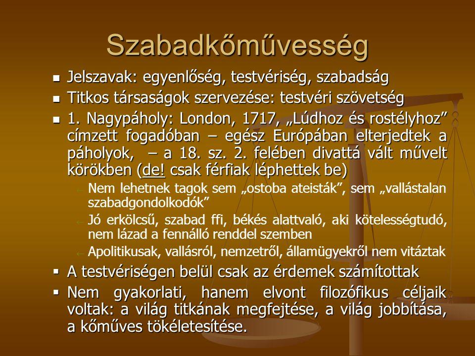 Szabadkőművesség Jelszavak: egyenlőség, testvériség, szabadság Jelszavak: egyenlőség, testvériség, szabadság Titkos társaságok szervezése: testvéri sz