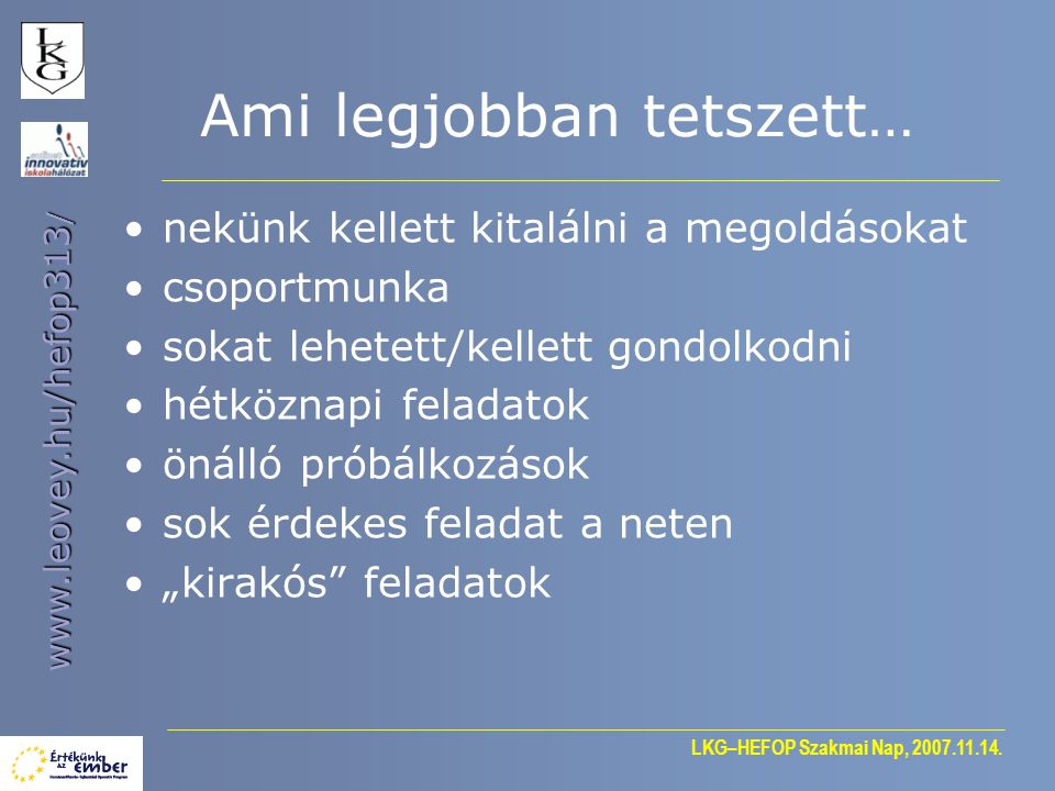 LKG–HEFOP Szakmai Nap, 2007.11.14.