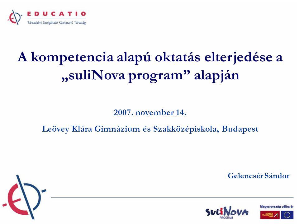 """A kompetencia alapú oktatás elterjedése a """"suliNova program alapján 2007."""
