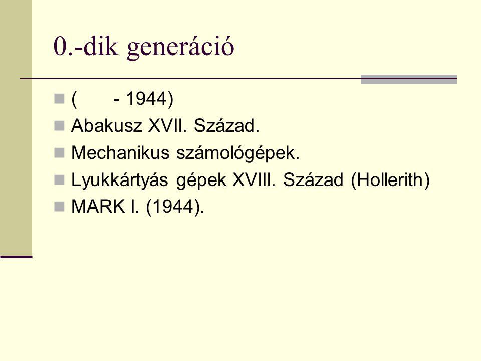 0.-dik generáció ( - 1944) Abakusz XVII. Század. Mechanikus számológépek. Lyukkártyás gépek XVIII. Század (Hollerith) MARK I. (1944).