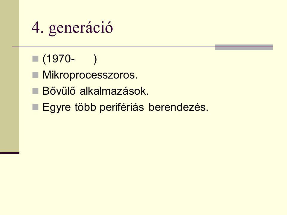 4. generáció (1970- ) Mikroprocesszoros. Bővülő alkalmazások. Egyre több perifériás berendezés.