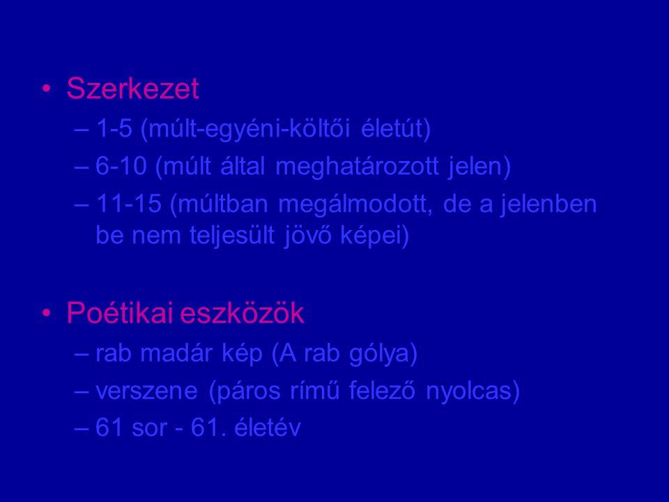 Szerkezet –1-5 (múlt-egyéni-költői életút) –6-10 (múlt által meghatározott jelen) –11-15 (múltban megálmodott, de a jelenben be nem teljesült jövő képei) Poétikai eszközök –rab madár kép (A rab gólya) –verszene (páros rímű felező nyolcas) –61 sor - 61.