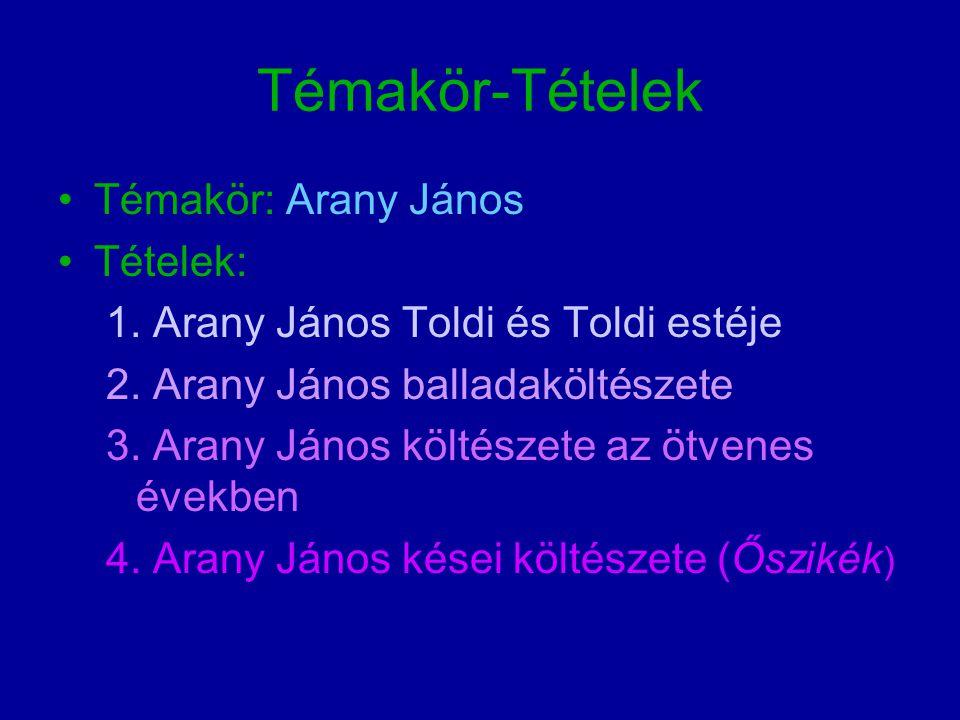 Témakör-Tételek Témakör: Arany János Tételek: 1.Arany János Toldi és Toldi estéje 2.