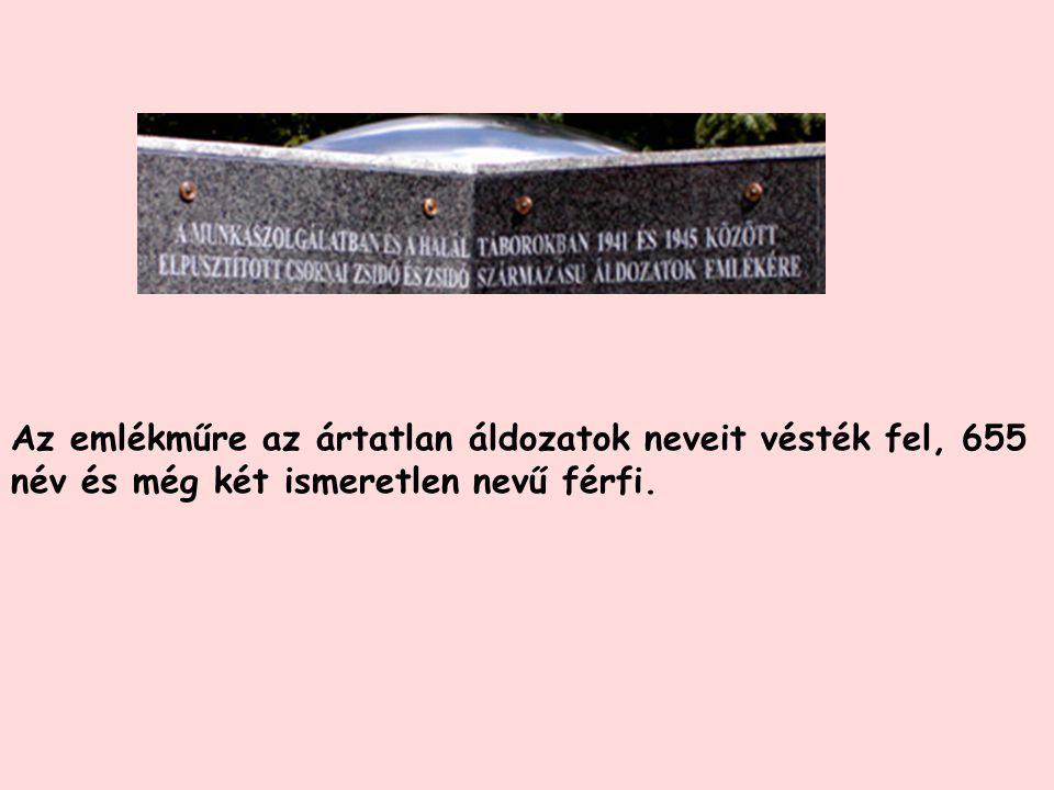 Az emlékműre az ártatlan áldozatok neveit vésték fel, 655 név és még két ismeretlen nevű férfi.