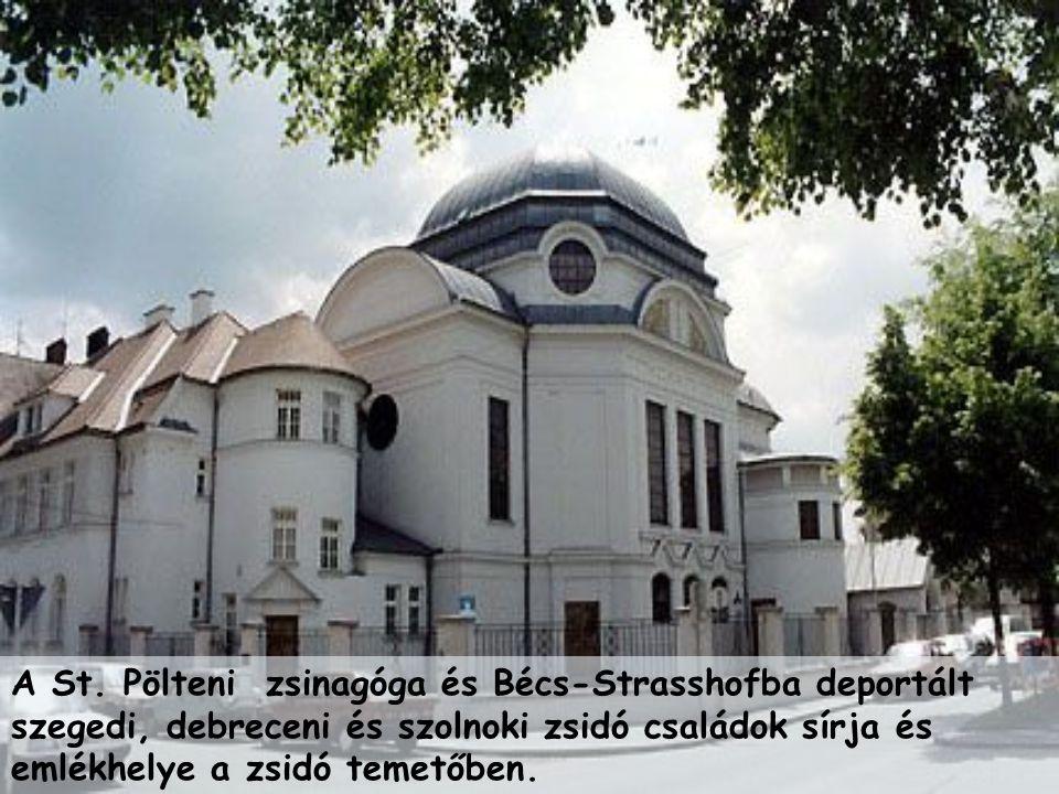 A St. Pölteni zsinagóga és Bécs-Strasshofba deportált szegedi, debreceni és szolnoki zsidó családok sírja és emlékhelye a zsidó temetőben.