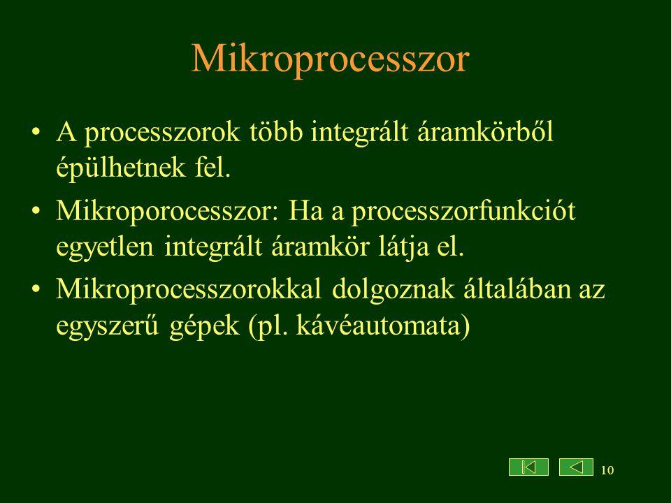 10 Mikroprocesszor A processzorok több integrált áramkörből épülhetnek fel. Mikroporocesszor: Ha a processzorfunkciót egyetlen integrált áramkör látja