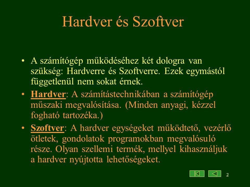 2 Hardver és Szoftver A számítógép működéséhez két dologra van szükség: Hardverre és Szoftverre. Ezek egymástól függetlenül nem sokat érnek. Hardver: