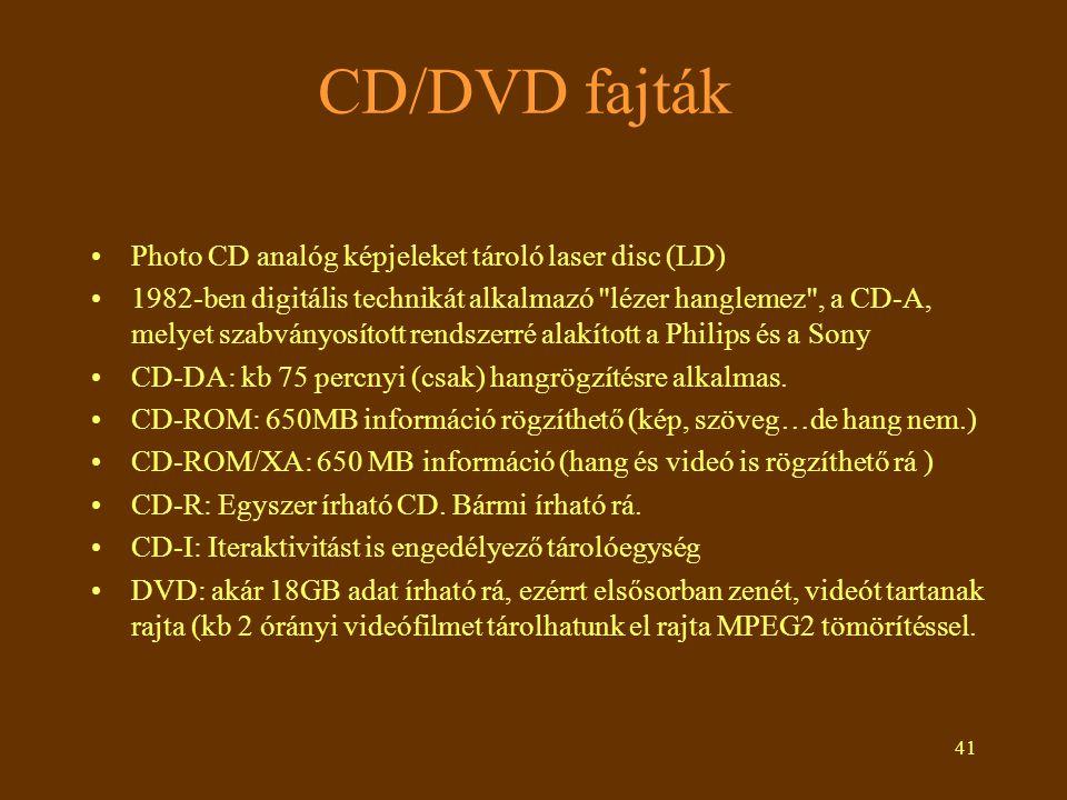41 CD/DVD fajták Photo CD analóg képjeleket tároló laser disc (LD) 1982-ben digitális technikát alkalmazó