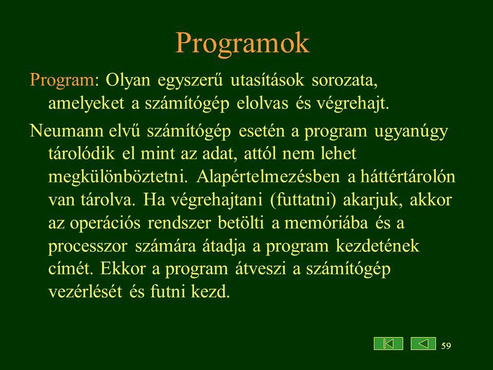 59 Programok Program: Olyan egyszerű utasítások sorozata, amelyeket a számítógép elolvas és végrehajt. Neumann elvű számítógép esetén a program ugyanú