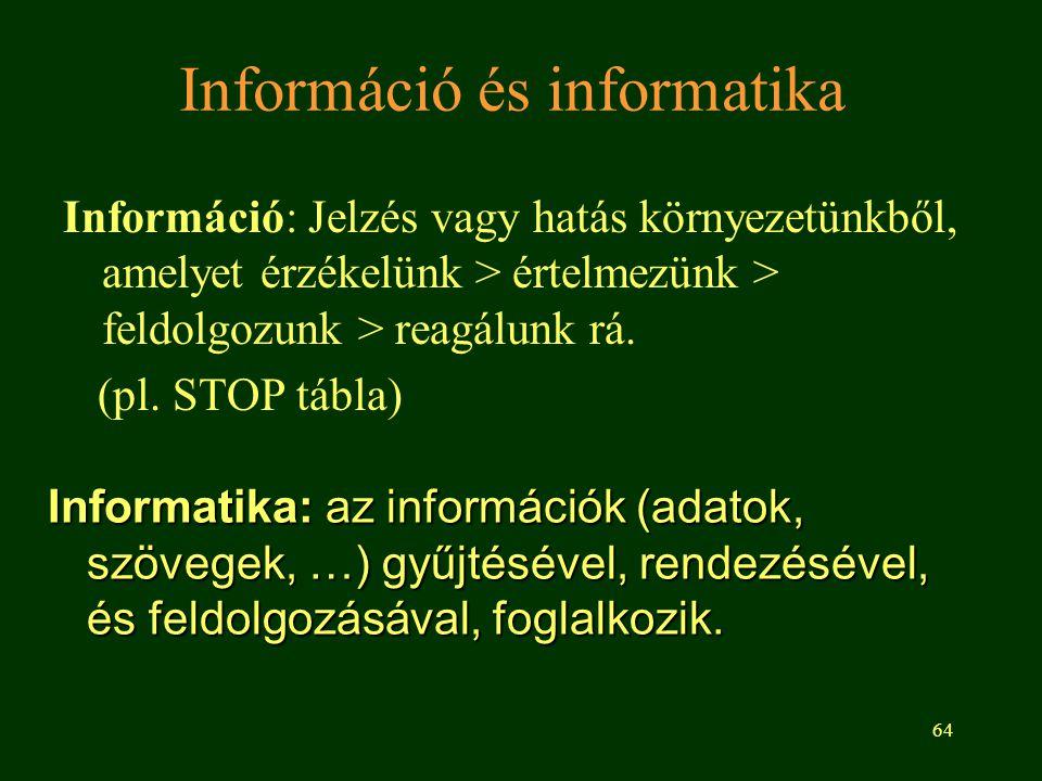 64 Információ és informatika Információ: Jelzés vagy hatás környezetünkből, amelyet érzékelünk > értelmezünk > feldolgozunk > reagálunk rá. (pl. STOP