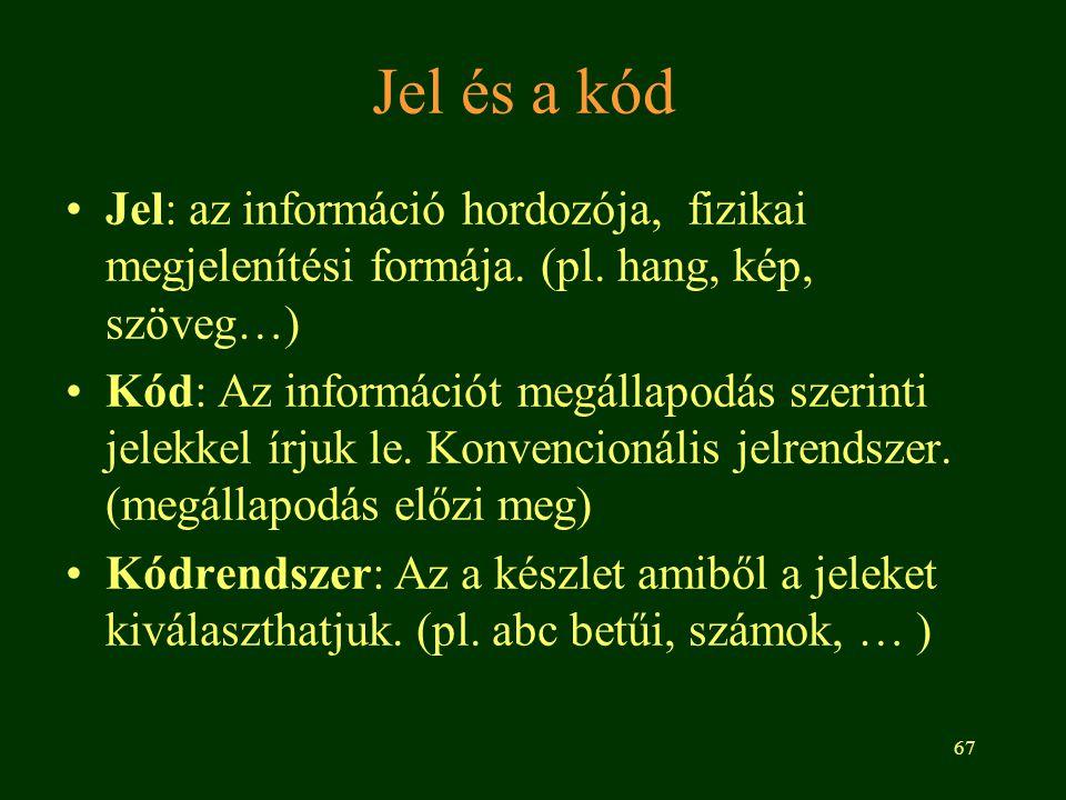67 Jel és a kód Jel: az információ hordozója, fizikai megjelenítési formája. (pl. hang, kép, szöveg…) Kód: Az információt megállapodás szerinti jelekk