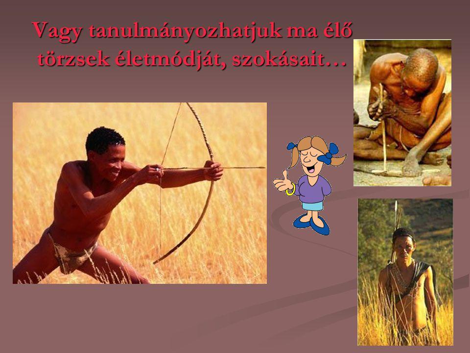 Vagy tanulmányozhatjuk ma élő törzsek életmódját, szokásait…