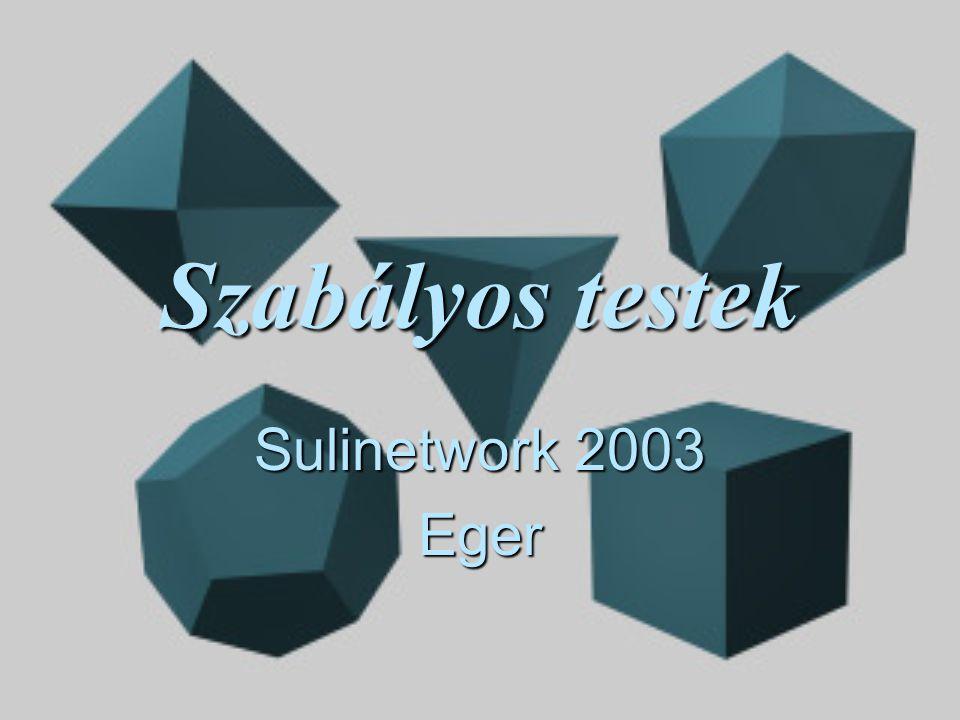 Arkhimédeszi poliéderek  Lapjai legalább kétféle szabályos sokszögből állnak  Nem hasábok, és nem antiprizmák  15 darab létezik Vissza