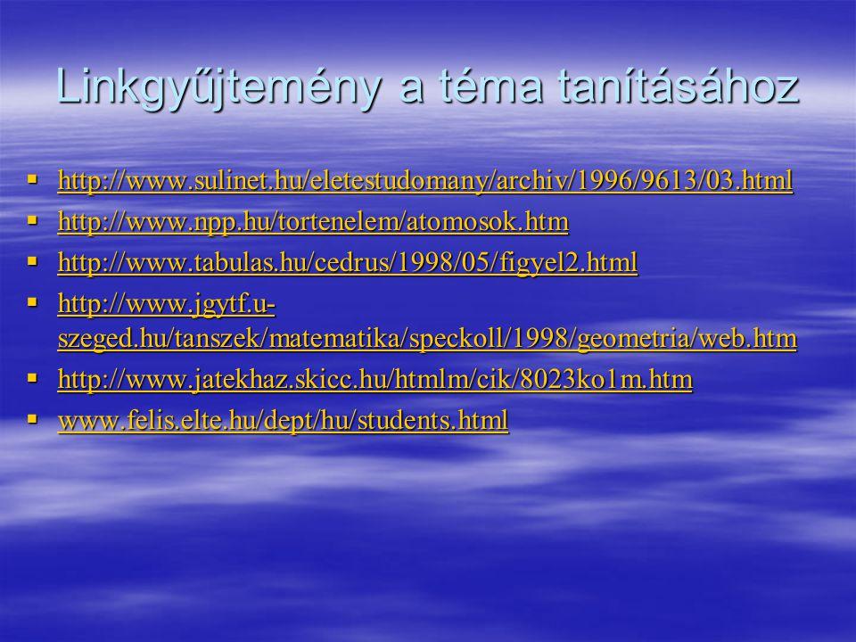 Linkgyűjtemény a téma tanításához  http://www.sulinet.hu/eletestudomany/archiv/1996/9613/03.html http://www.sulinet.hu/eletestudomany/archiv/1996/961
