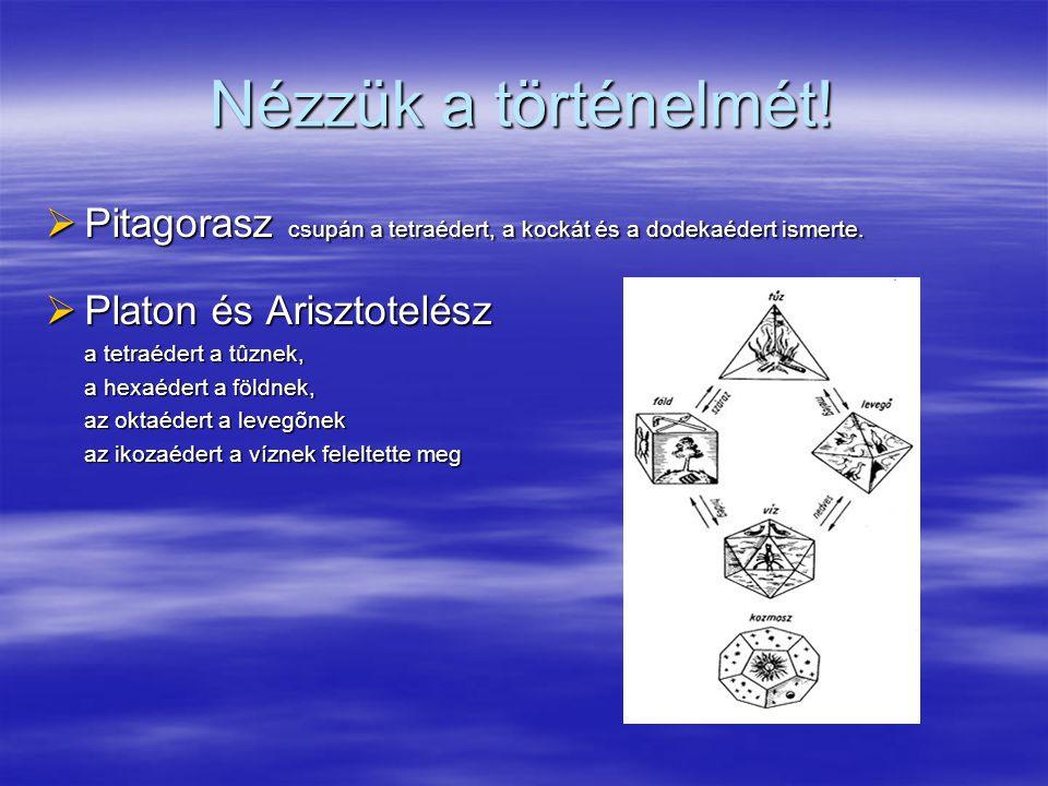 Nézzük a történelmét!  Pitagorasz csupán a tetraédert, a kockát és a dodekaédert ismerte.  Platon és Arisztotelész a tetraédert a tûznek, a hexaéder