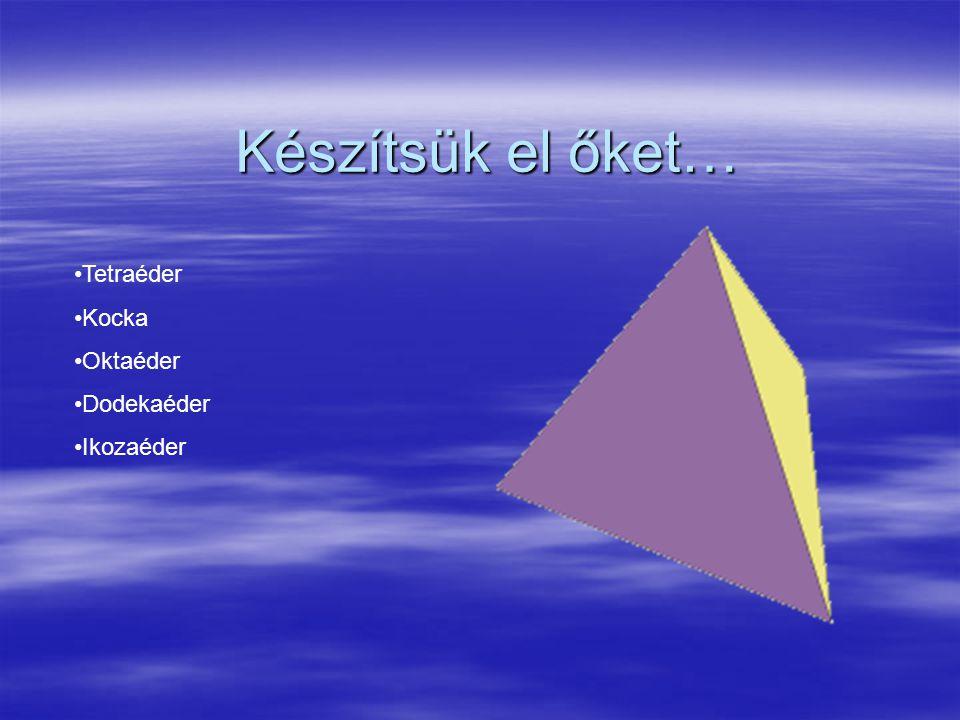 Szabályos testek hálója Tetraéder Kocka Oktaéder Dodekaéder Ikozaéder