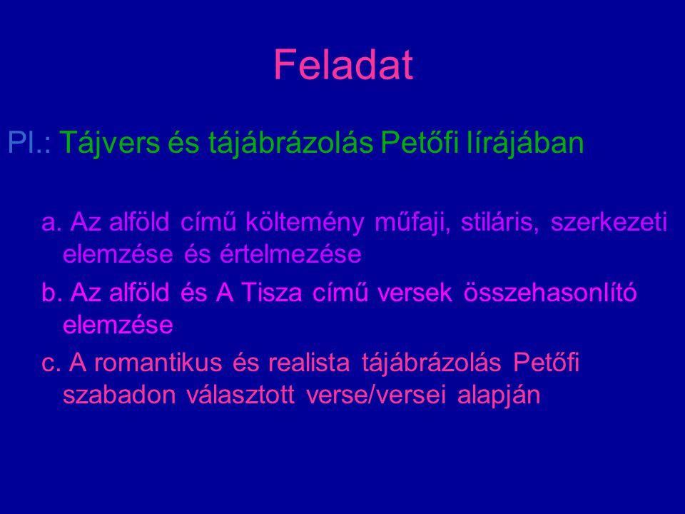 Feladat Pl.: Tájvers és tájábrázolás Petőfi lírájában a. Az alföld című költemény műfaji, stiláris, szerkezeti elemzése és értelmezése b. Az alföld és