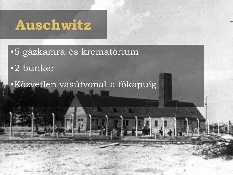 Auschwitz 5 gázkamra és krematórium 2 bunker Közvetlen vasútvonal a főkapuig