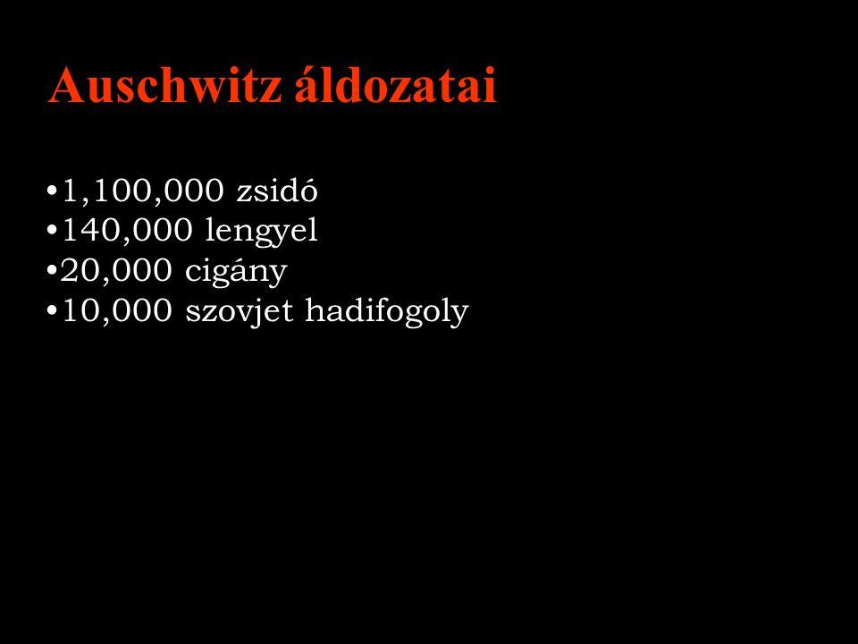 1,100,000 zsidó 140,000 lengyel 20,000 cigány 10,000 szovjet hadifogoly Auschwitz áldozatai