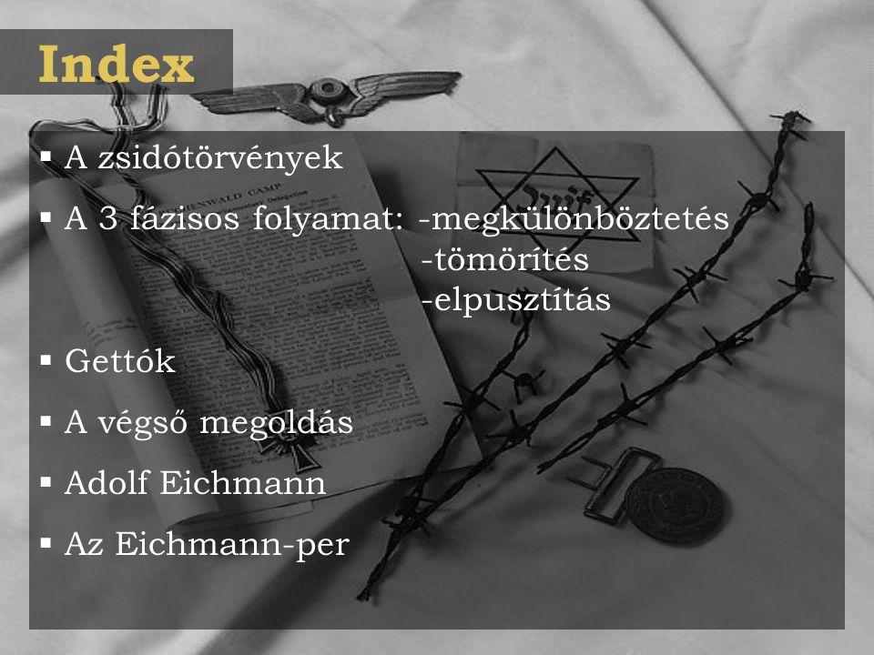 Index  A zsidótörvények  A 3 fázisos folyamat: -megkülönböztetés -tömörítés -elpusztítás  Gettók  A végső megoldás  Adolf Eichmann  Az Eichmann-per