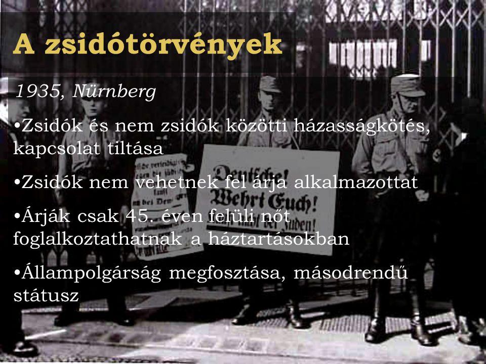 A zsidótörvények 1935, Nürnberg Zsidók és nem zsidók közötti házasságkötés, kapcsolat tiltása Zsidók nem vehetnek fel árja alkalmazottat Árják csak 45.